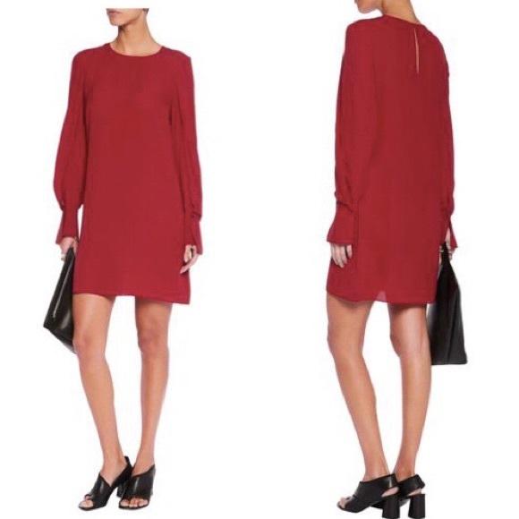 7c803c5fb2a 3.1 Phillip Lim Silk Draped Sleeve Dress Ruby Red